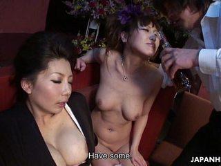 Two smoking hot Chinese women enjoy a nasty tough threesome