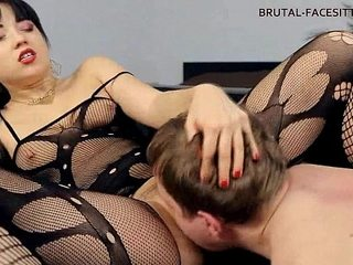 Female dom ass-smothering bodystocking