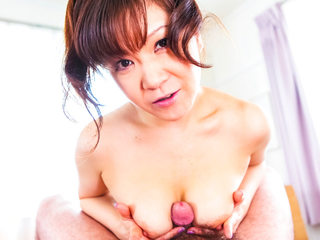 Giant titty Ichika Asagiri on her knees sucking a rock-hard sausage and gobbling jism